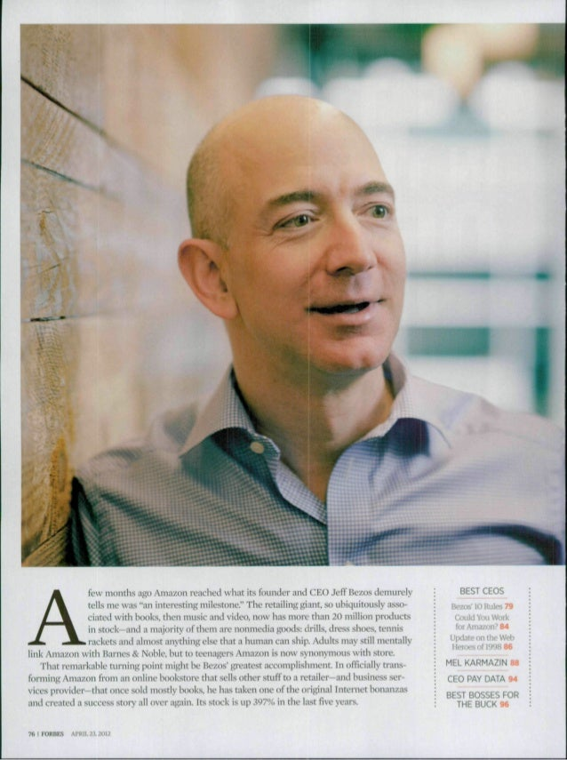 "^^Afew months ago Amazon reached what its founder and CEO Jeff Bezos demurelytells me was ""an interesting milestone."" The ..."