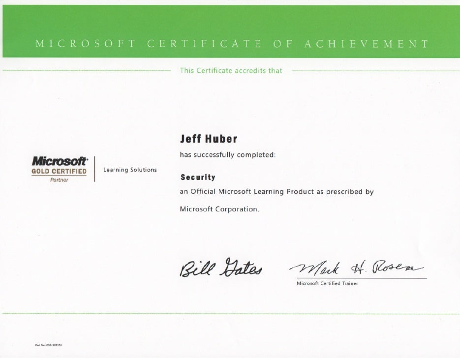 Jeff Huber Security Certificate