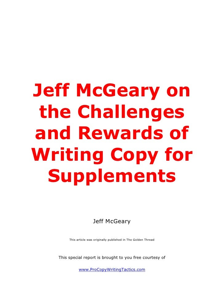 Jeff McGeary on the Challengesand Rewards ofWriting Copy for  Supplements                       Jeff McGeary       This ar...