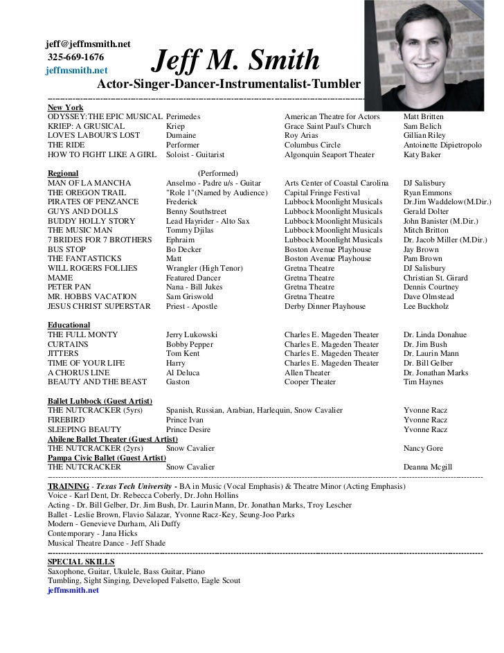 Theatre Resume Sample  Musical Theatre Resume