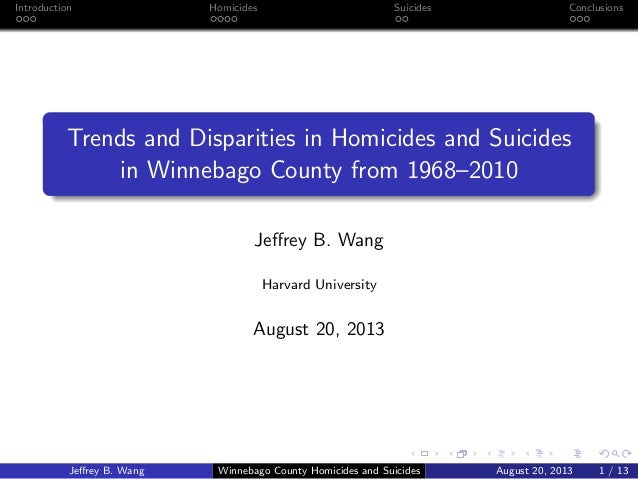 Introduction  Homicides  Suicides  Conclusions  Trends and Disparities in Homicides and Suicides in Winnebago County from ...
