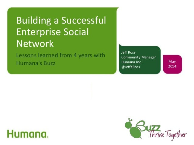 Building a Successful Enterprise Social Network Lessons learned from 4 years with Humana's Buzz Jeff Ross Community Manage...
