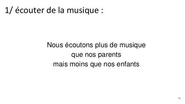 Nous écoutons plus de musique que nos parents mais moins que nos enfants 1/ écouter de la musique : 15