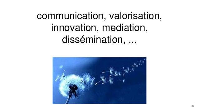 communication, valorisation, innovation, mediation, dissémination, ... 33