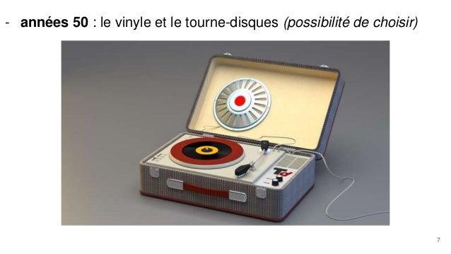 - années 50 : le vinyle et le tourne-disques (possibilité de choisir) 7