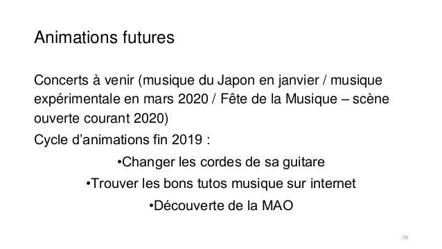 Animations futures Concerts à venir (musique du Japon en janvier / musique expérimentale en mars 2020 / Fête de la Musique...