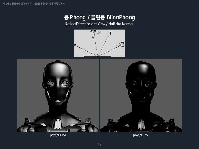 리얼타임 환경에서 쉐이더 프로그래밍을 통한 룩디벨롭과 특수효과 12 퐁 Phong / 블린퐁 BlinnPhong ReflectDirection dot View / Half dot Normal pow(NH,15) pow(...