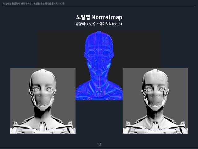 리얼타임 환경에서 쉐이더 프로그래밍을 통한 룩디벨롭과 특수효과 13 노멀맵 Normal map 방향의(x,y,z) = 이미지의(r,g,b)