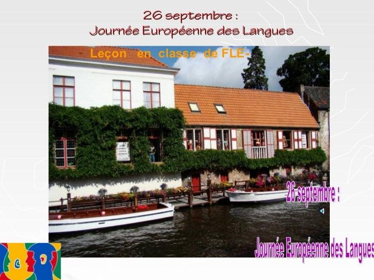 26 septembre : Journée Européenne des Langues- Leçon en classe de FLE-