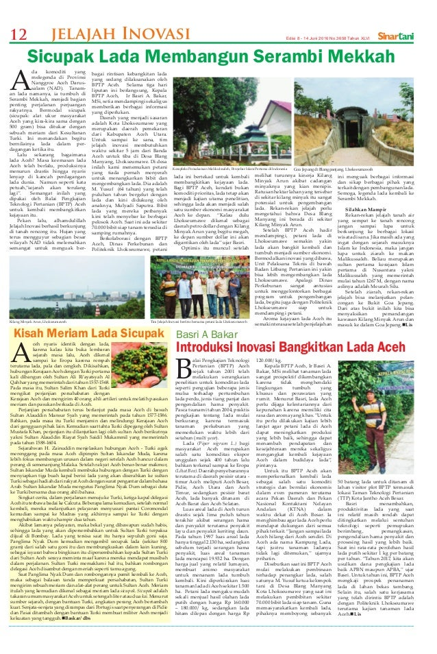 12 Edisi 8 - 14 Juni 2016 No.3658 Tahun XLVIjelajah Inovasi Tim Jelajah Inovasi berfoto bersama petani lada Lhokseumaweh K...