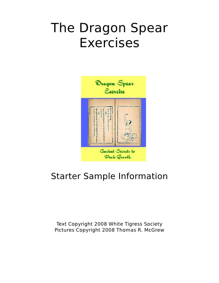 The Dragon Spear    ExercisesStarter Sample Information Text Copyright 2008 White Tigress SocietyPictures Copyright 2008 T...