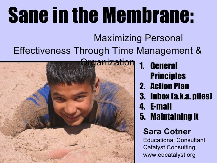 Sane in the Membrane:   Maximizing Personal Effectiveness Through Time Management & Organization Sara Cotner Educational C...