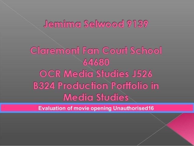 Evaluation of movie opening Unauthorised16