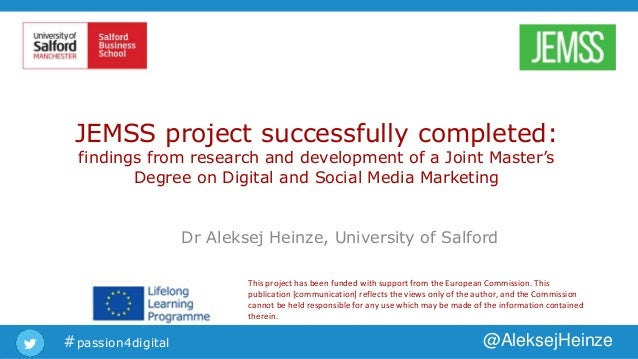 #passion4digital @AleksejHeinze JEMSS project successfully completed: findings from research and development of a Joint Ma...