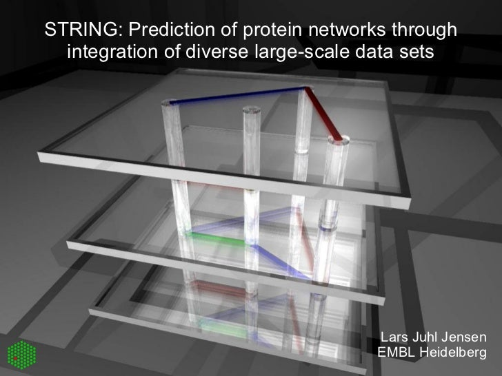 STRING: Prediction of protein networks through integration of diverse large-scale data sets Lars Juhl Jensen EMBL Heidelberg