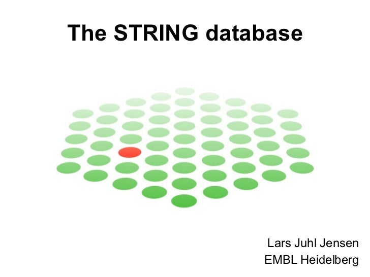 The STRING database Lars Juhl Jensen EMBL Heidelberg