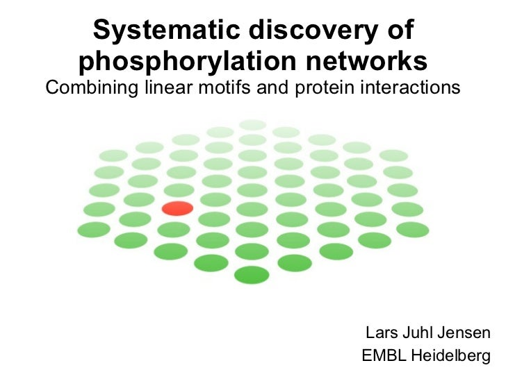 Systematic discovery of phosphorylation networks Combining linear motifs and protein interactions Lars Juhl Jensen EMBL He...