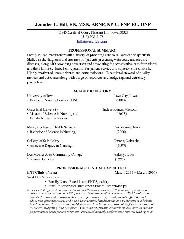 Jen hill cv for Cover letter examples for nurse practitioners