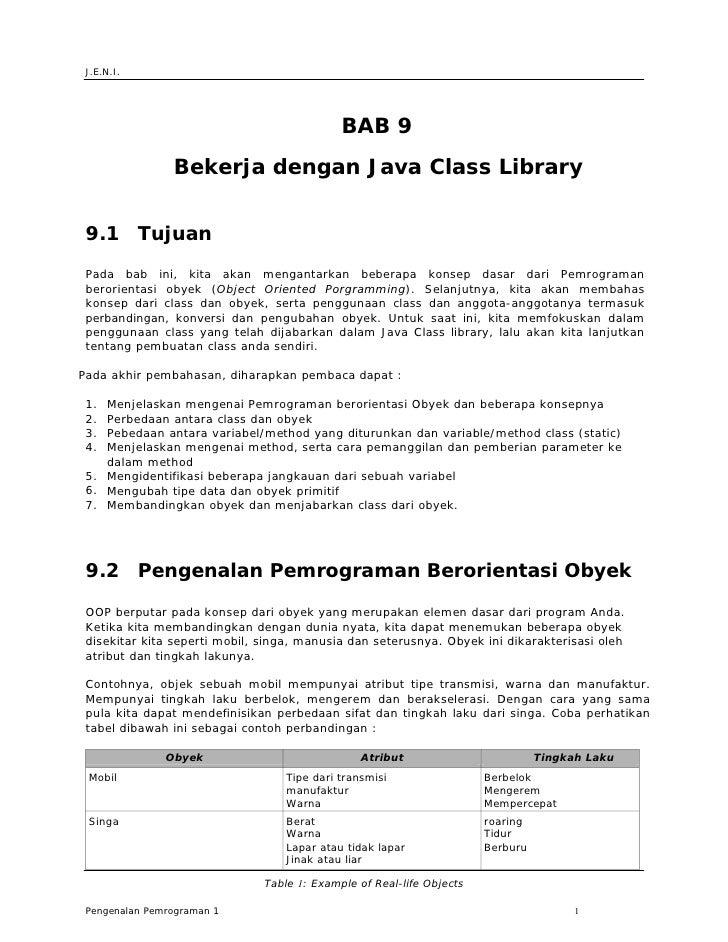 J.E.N.I.                                                  BAB 9                 Bekerja dengan Java Class Library    9.1 T...
