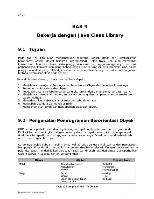 J.E.N.I.                                             BAB 9                Bekerja dengan Java Class Library 9.1 Tujuan Pad...