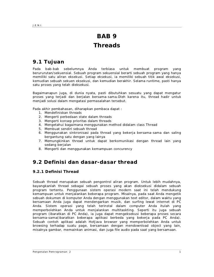 J.E.N.I.                                         BAB 9                                    Threads  9.1 Tujuan Pada bab-bab...