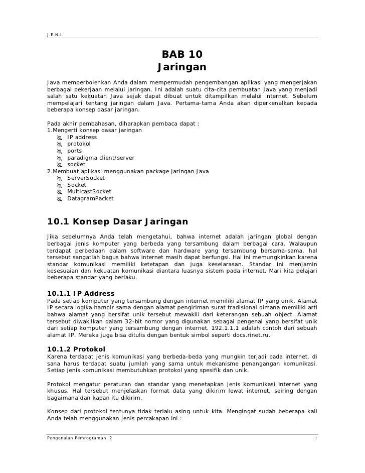 J.E.N.I.                                          BAB 10                                      Jaringan Java memperbolehkan...