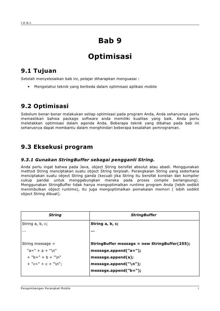 J.E.N.I.                                                   Bab 9                                        Optimisasi 9.1 Tuj...