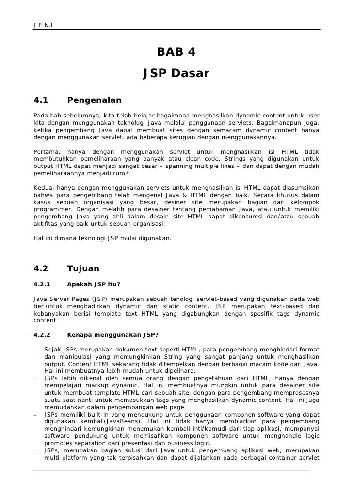 J.E.N.I                                            BAB 4                                    JSP Dasar  4.1         Pengena...