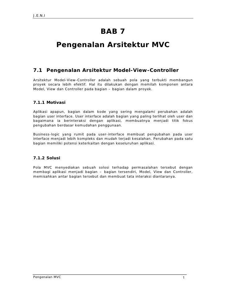 J.E.N.I                                        BAB 7             Pengenalan Arsitektur MVC   7.1 Pengenalan Arsitektur Mod...