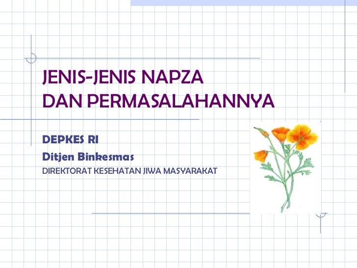 JENIS-JENIS NAPZA  DAN PERMASALAHANNYA  <ul><li>DEPKES RI  </li></ul><ul><li>Ditjen Binkesmas </li></ul><ul><li>DIREKTORAT...