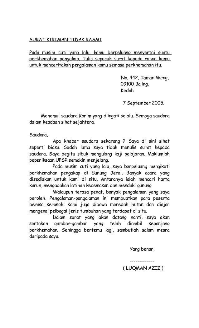 Contoh Surat Tidak Rasmi Banjir Rumah Aoi
