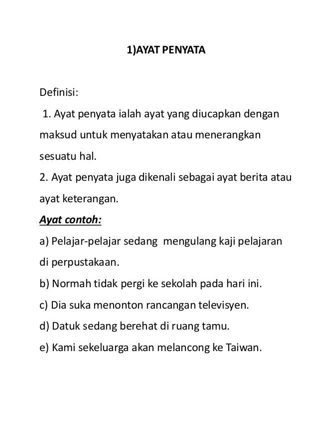 Jenis Jenis Ayat Bahasa Melayu