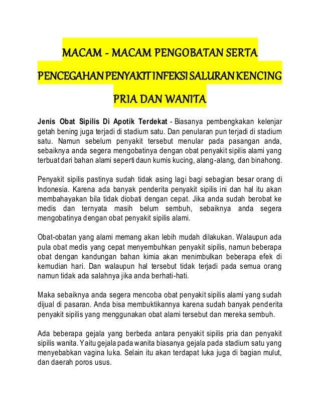 MACAM - MACAM PENGOBATAN SERTA PENCEGAHANPENYAKITINFEKSISALURANKENCING PRIA DAN WANITA Jenis Obat Sipilis Di Apotik Terdek...