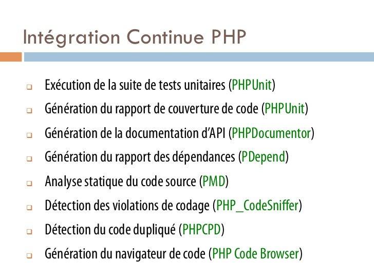 Intégration Continue PHPq   Exécution de la suite de tests unitaires (PHPUnit)q   Génération du rapport de couverture ...