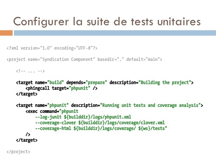 """Configurer la suite de tests unitaires<?xml version=""""1.0"""" encoding=""""UTF-8""""?><project name=""""Syndication Component"""" basedir=..."""