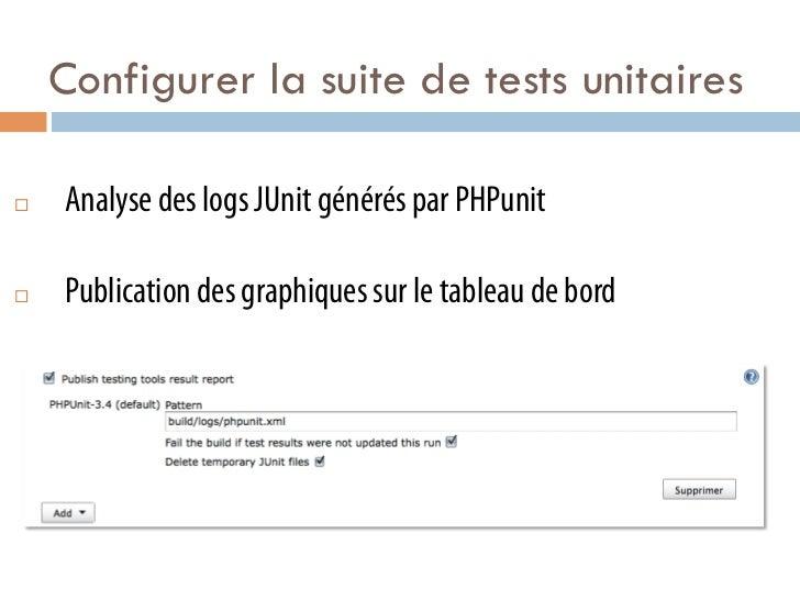 Configurer la suite de tests unitaires¨   Analyse des logs JUnit générés par PHPunit¨   Publication des graphiques sur...