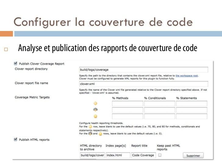 Configurer la couverture de code¨   Analyse et publication des rapports de couverture de code