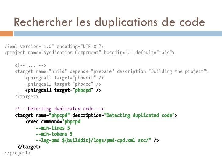 "Rechercher les duplications de code<?xml version=""1.0"" encoding=""UTF-8""?><project name=""Syndication Component"" basedir="".""..."