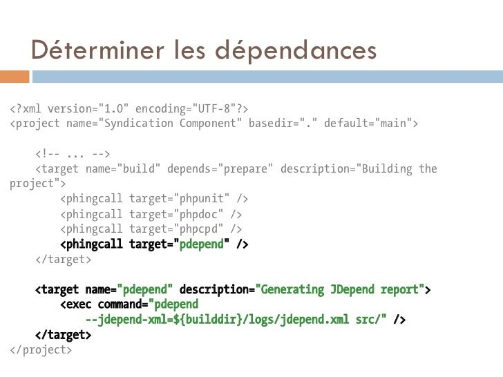 """Déterminer les dépendances<?xml version=""""1.0"""" encoding=""""UTF-8""""?><project name=""""Syndication Component"""" basedir=""""."""" default=..."""