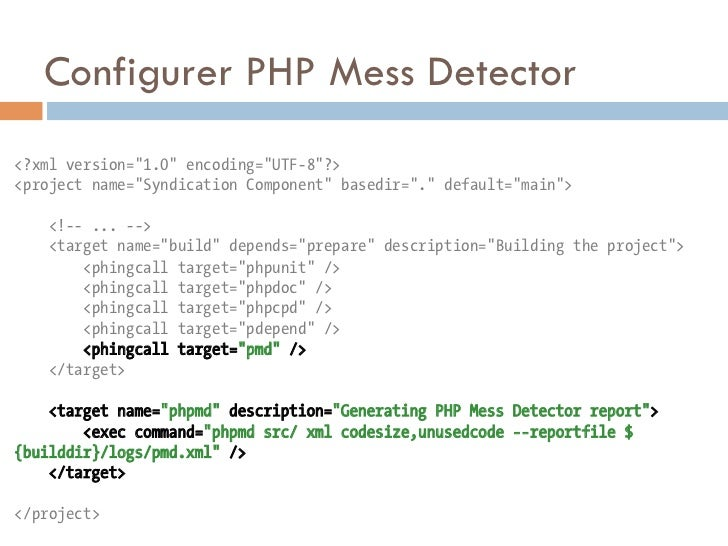 "Configurer PHP Mess Detector<?xml version=""1.0"" encoding=""UTF-8""?><project name=""Syndication Component"" basedir=""."" defaul..."
