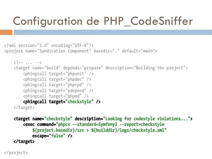 "Configuration de PHP_CodeSniffer<?xml version=""1.0"" encoding=""UTF-8""?><project name=""Syndication Component"" basedir=""."" de..."