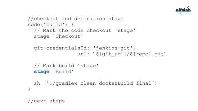 //checkout and definition stage node('build') { // Mark the code checkout 'stage' stage 'Checkout' git credentialsId: 'jen...