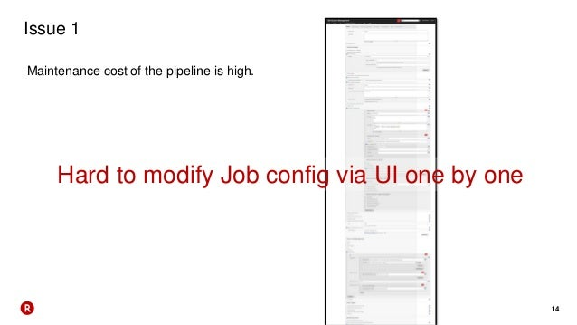 14 Issue 1 Maintenance cost of the pipeline is high. Hard to modify Job config via UI one by one