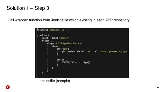 18 Solution 1 – Step 3 Call wrapper function from Jenkinsfile which existing in each APP repository. Jenkinsfile (sample)