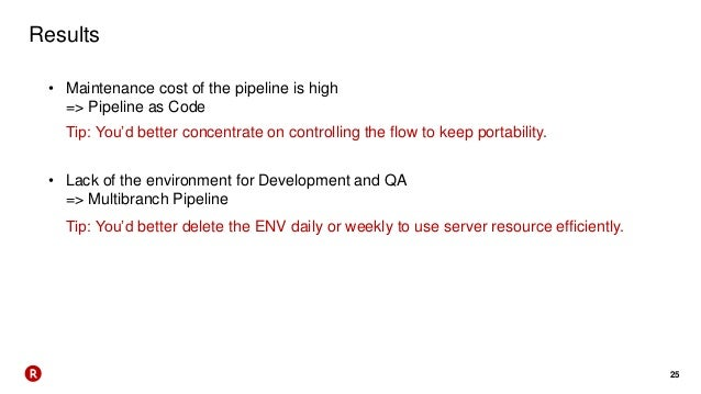 25 Results • Maintenance cost of the pipeline is high => Pipeline as Code • Lack of the environment for Development and QA...