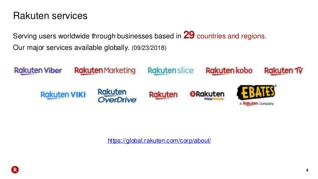 4 Rakuten services Serving users worldwide through businesses based in 29 countries and regions. Our major services availa...