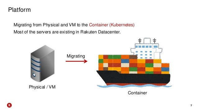 7 Platform Migrating from Physical and VM to the Container (Kubernetes) Most of the servers are existing in Rakuten Datace...