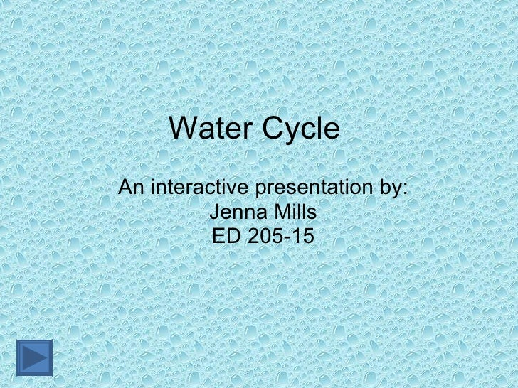 Water Cycle An interactive presentation by: Jenna Mills ED 205-15