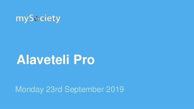 Alaveteli Pro Monday 23rd September 2019