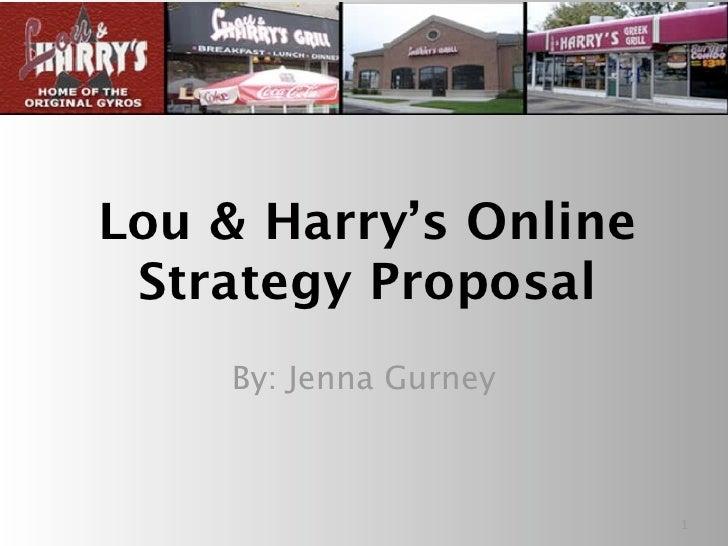 Lou & Harry's Online  Strategy Proposal     By: Jenna Gurney                           1